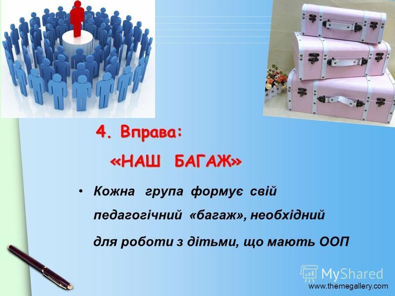 www.themegallery.com 4. Вправа: «НАШ БАГАЖ» Кожна група формує свій педагогічний «багаж», необхідний для роботи з дітьми, що мають ООП
