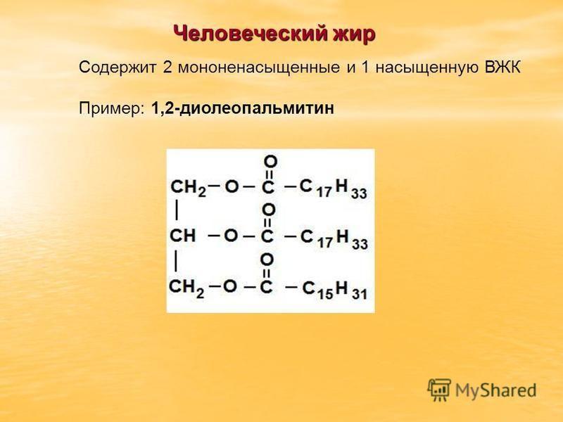 Человеческий жир Содержит 2 мононенасыщенные и 1 насыщенную ВЖК Пример: 1,2-диолеопальмитин