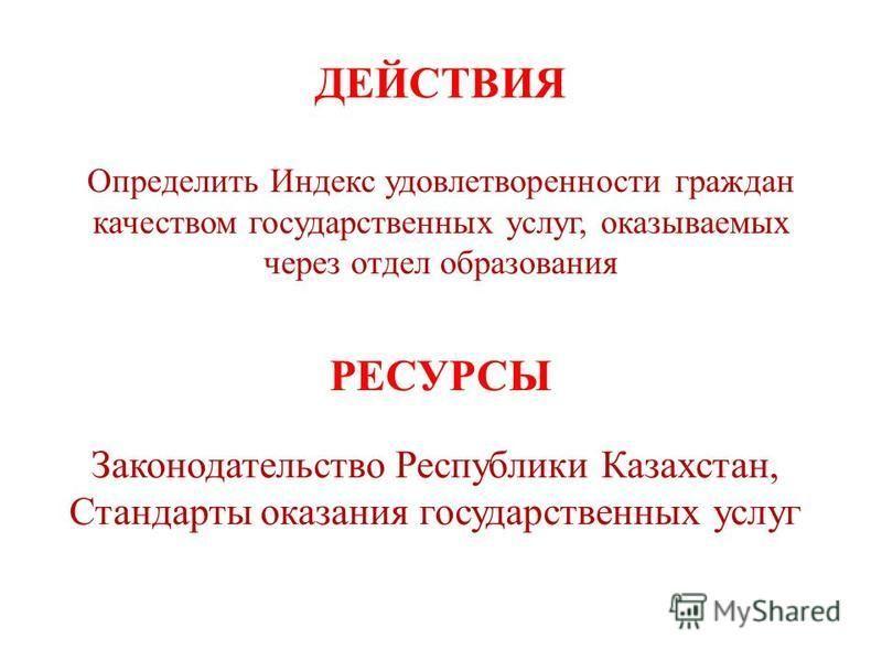 ДЕЙСТВИЯ Определить Индекс удовлетворенности граждан качеством государственных услуг, оказываемых через отдел образования Законодательство Республики Казахстан, Стандарты оказания государственных услуг РЕСУРСЫ
