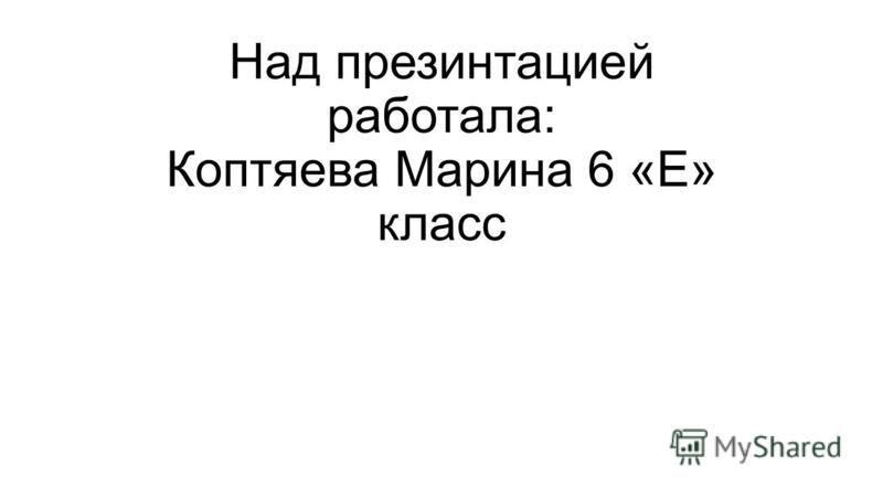 Над презентацией работала: Коптяева Марина 6 «Е» класс