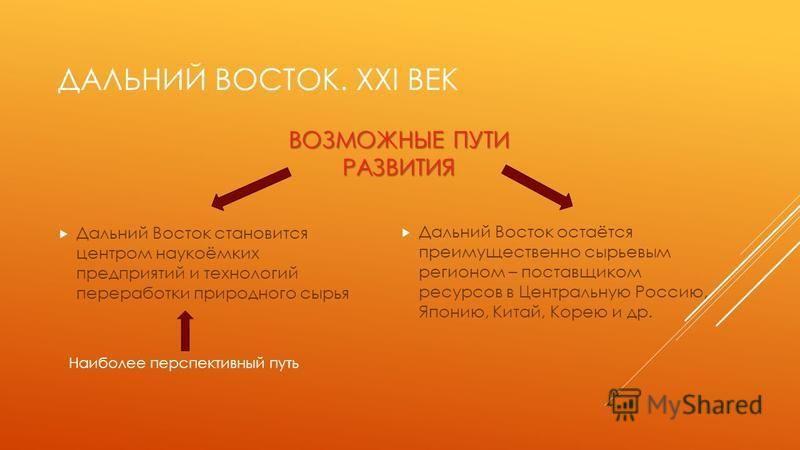 ДАЛЬНИЙ ВОСТОК. XXI ВЕК Дальний Восток становится центром наукоёмких предприятий и технологий переработки природного сырья Дальний Восток остаётся преимущественно сырьевым регионом – поставщиком ресурсов в Центральную Россию, Японию, Китай, Корею и д