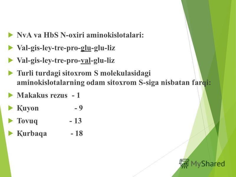 NvA va HbS N-oxiri aminokislotalari: Val-gis-ley-tre-pro-glu-glu-liz Val-gis-ley-tre-pro-val-glu-liz Turli turdagi sitoxrom S molekulasidagi aminokislotalarning odam sitoxrom S-siga nisbatan farqi: Makakus rezus - 1 Қuyon - 9 Tovuq - 13 Қurbaqa - 18