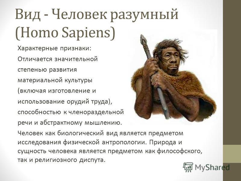 Вид - Человек разумный (Homo Sapiens) Характерные признаки: Отличается значительной степенью развития материальной культуры (включая изготовление и использование орудий труда), способностью к членораздельной речи и абстрактному мышлению. Человек как