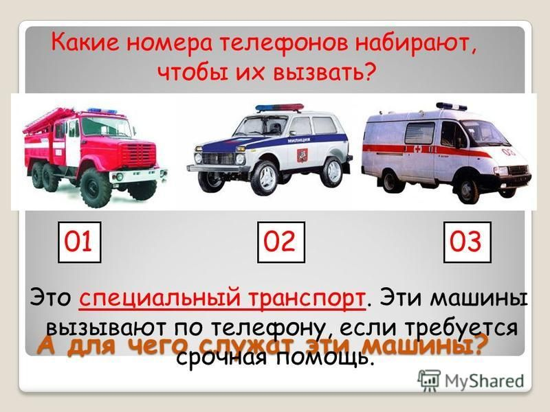 А для чего служат эти машины? Это специальный транспорт. Эти машины вызывают по телефону, если требуется срочная помощь. 010203 Какие номера телефонов набирают, чтобы их вызвать?