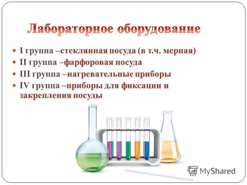 I группа –стеклянная посуда (в т.ч. мерная) II группа –фарфоровая посуда III группа –нагревательные приборы IV группа –приборы для фиксации и закрепления посуды