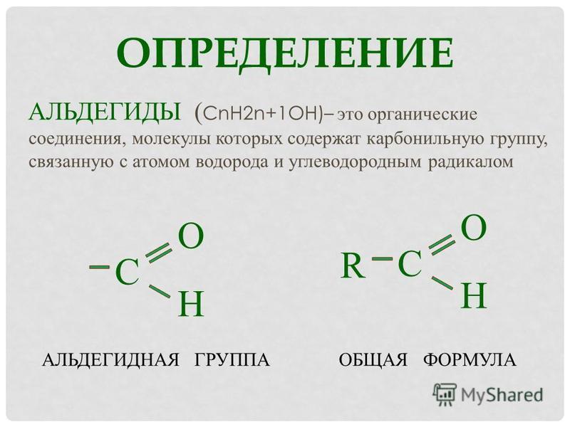 ОПРЕДЕЛЕНИЕ АЛЬДЕГИДЫ ( СnH2n+1OН)– это органические соединения, молекулы которых содержат карбонильную группу, связанную с атомом водорода и углеводородным радикалом OHOH С R OHOH С ОБЩАЯ ФОРМУЛААЛЬДЕГИДНАЯ ГРУППА