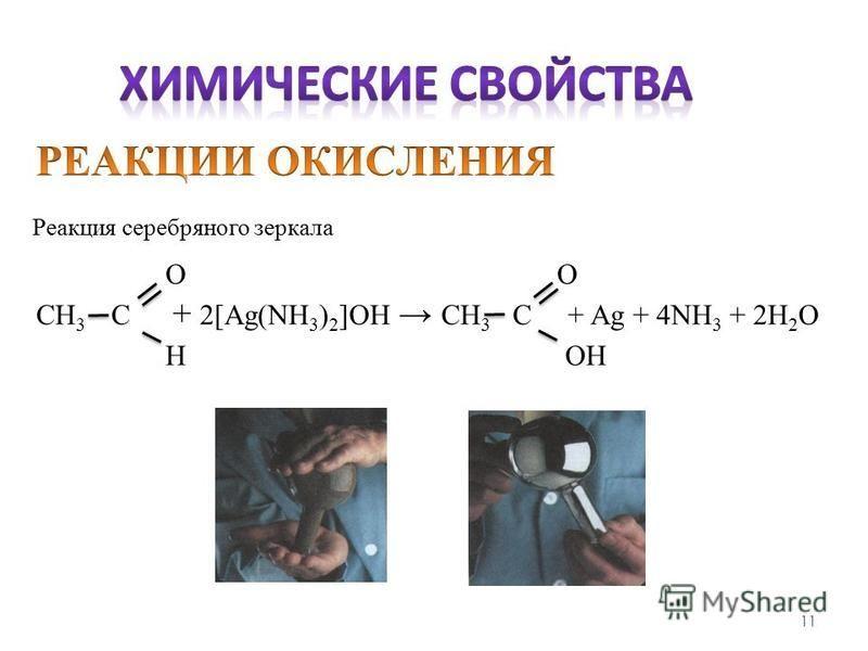 11 Реакция серебряного зеркала ОО СН 3 С + 2[Ag(NH 3 ) 2 ]OH СН 3 С + Ag + 4NH 3 + 2H 2 O Н OН