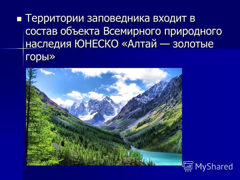 Территории заповедника входит в состав объекта Всемирного природного наследия ЮНЕСКО «Алтай золотые горы» Территории заповедника входит в состав объекта Всемирного природного наследия ЮНЕСКО «Алтай золотые горы»