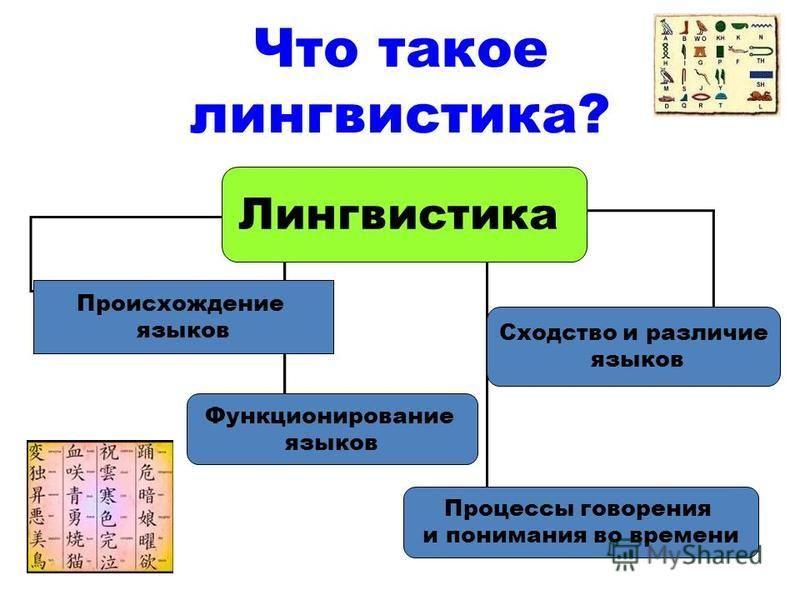 Что такое лингвистика? Лингвистика Происхождение языков Функционирование языков Сходство и различие языков Процессы говорения и понимания во времени