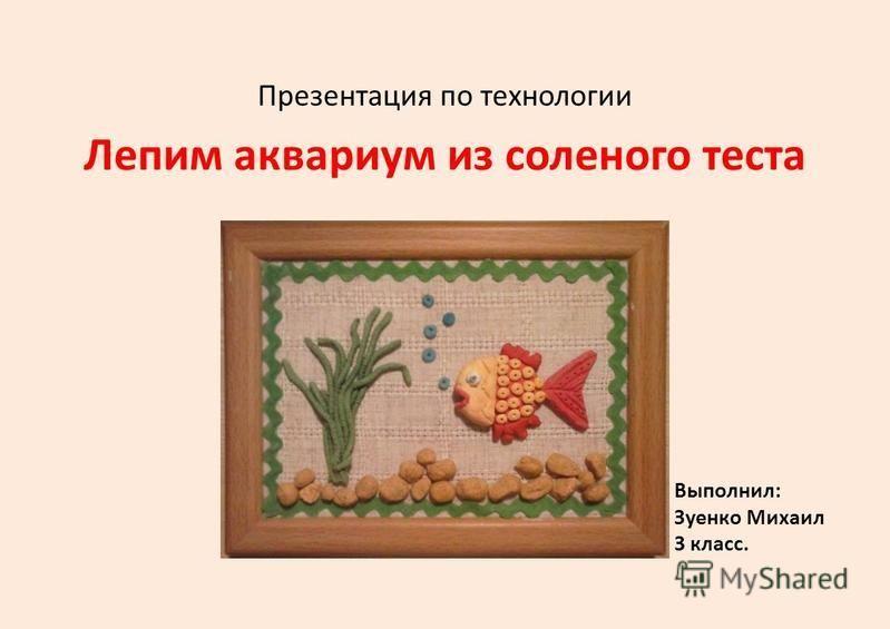 Презентация по технологии Лепим аквариум из соленого теста Выполнил: Зуенко Михаил 3 класс.