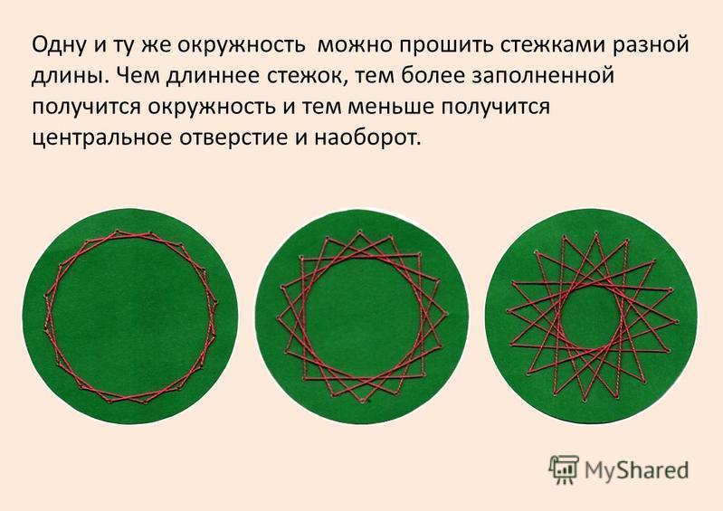 Одну и ту же окружность можно прошить стежками разной длины. Чем длиннее стежок, тем более заполненной получится окружность и тем меньше получится центральное отверстие и наоборот.