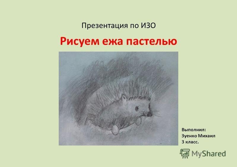Презентация по ИЗО Рисуем ежа пастелью Выполнил: Зуенко Михаил 3 класс.