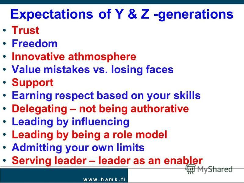 w w w. h a m k. f i Expectations of Y & Z -generations Trust Freedom Innovative athmosphere Value mistakes vs. losing faces Support Earning respect based on your skills Delegating – not being authorative Leading by influencing Leading by being a role