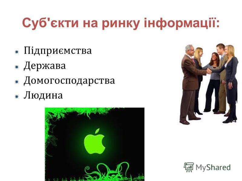 Суб'єкти на ринку інформації: Підприємства Держава Домогосподарства Людина