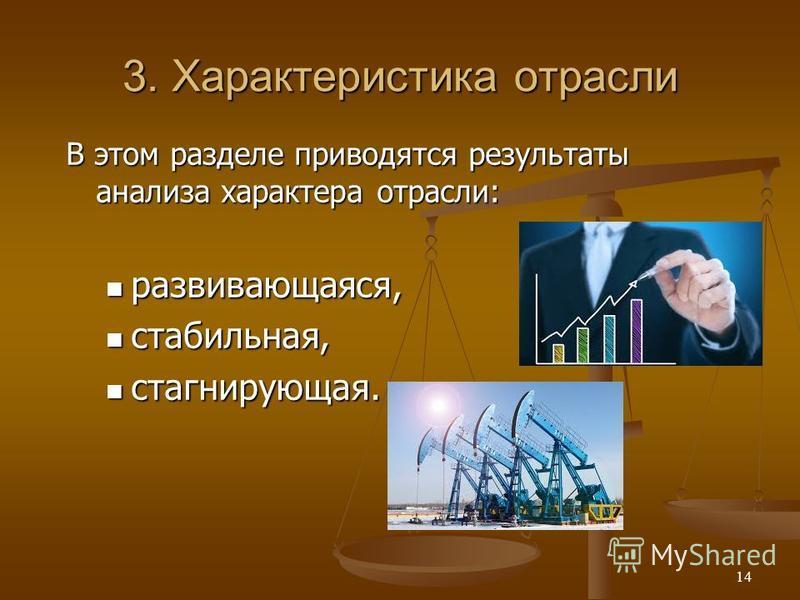 3. Характеристика отрасли В этом разделе приводятся результаты анализа характера отрасли: развивающаяся, развивающаяся, стабильная, стабильная, стагнирующая. стагнирующая. 14