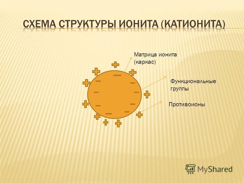 Матрица ионита (каркас) Функциональные группы Противоионы
