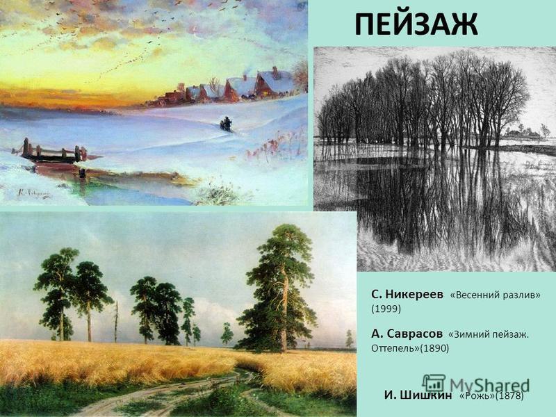 ПЕЙЗАЖ И. Шишкин «Рожь»(1878) С. Никереев «Весенний разлив» (1999) А. Саврасов «Зимний пейзаж. Оттепель»(1890)