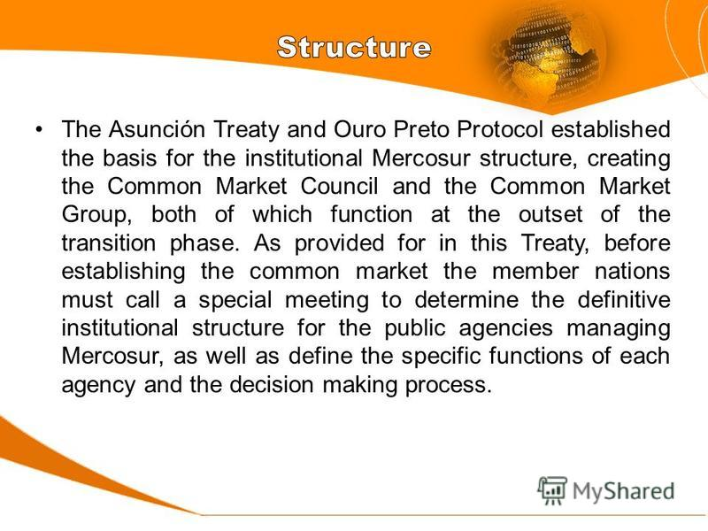 The Asunción Treaty and Ouro Preto Protocol established the basis for the institutional Mercosur structure, creating the Common Market Council and the Common Market Group, both of which function at the outset of the transition phase. As provided for