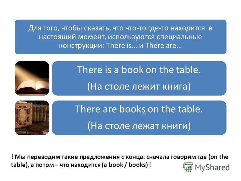 Для того, чтобы сказать, что что-то где-то находится в настоящий момент, используются специальные конструкции: There is… и There are… There is a book on the table. (На столе лежит книга) There are books on the table. (На столе лежат книги) ! Мы перев