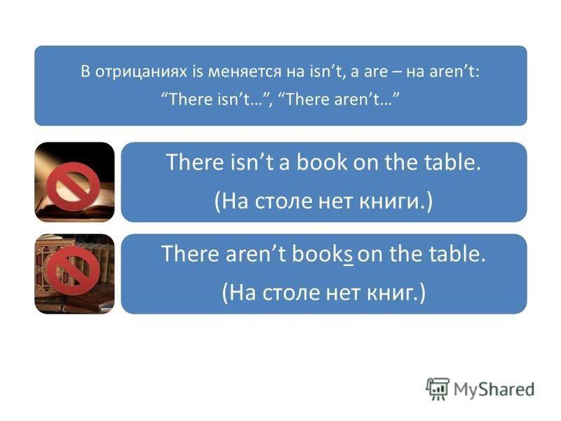 В отрицаниях is меняется на isnt, а are – на arent: There isnt…, There arent… There isnt a book on the table. (На столе нет книги.) There arent books on the table. (На столе нет книг.)