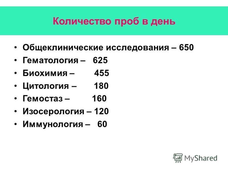 Количество проб в день Общеклинические исследования – 650 Гематология – 625 Биохимия – 455 Цитология – 180 Гемостаз – 160 Изосерология – 120 Иммунология – 60