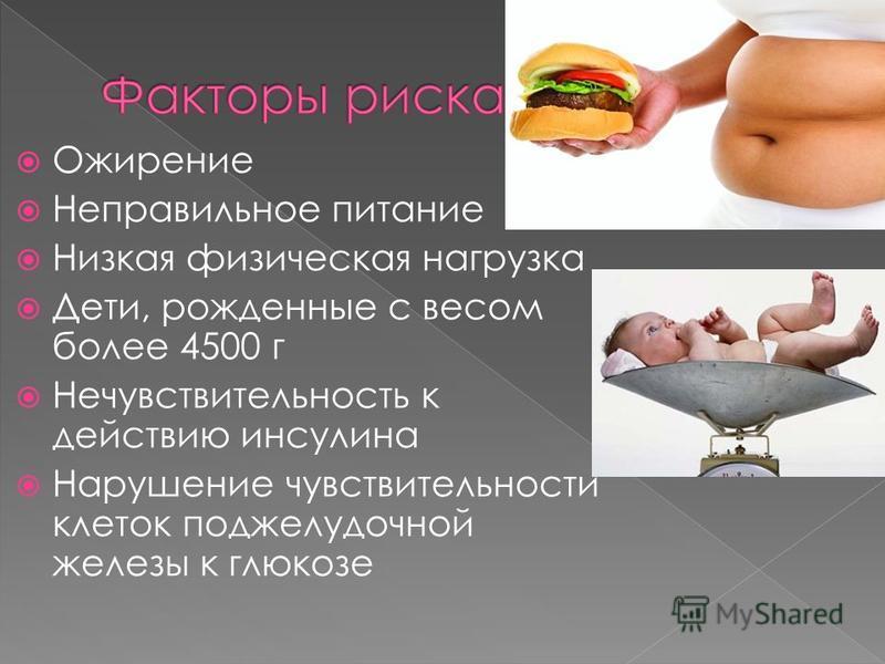 Ожирение Неправильное питание Низкая физическая нагрузка Дети, рожденные с весом более 4500 г Нечувствительность к действию инсулина Нарушение чувствительности клеток поджелудочной железы к глюкозе