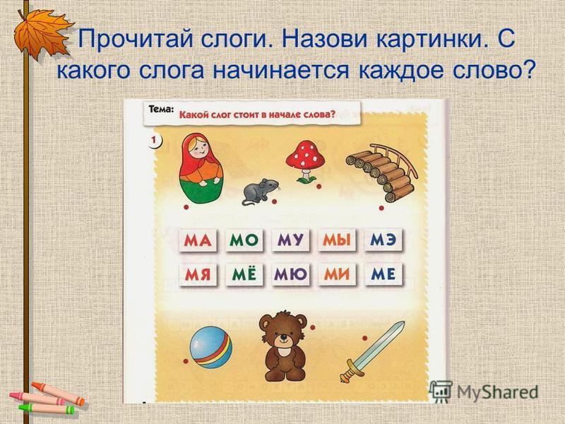 Прочитай слоги. Назови картинки. С какого слога начинается каждое слово?