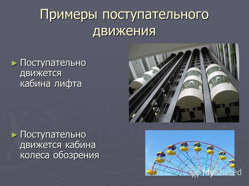 Примеры поступательного движения Поступательно движется кабина лифта Поступательно движется кабина лифта Поступательно движется кабина колеса обозрения Поступательно движется кабина колеса обозрения