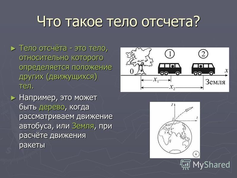 Что такое тело отсчета? Тело отсчёта - это тело, относительно которого определяется положение других (движущихся) тел. Тело отсчёта - это тело, относительно которого определяется положение других (движущихся) тел. Например, это может быть дерево, ког