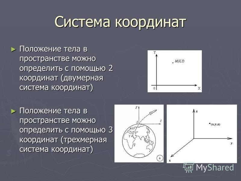 Система координат Положение тела в пространстве можно определить с помощью 2 координат (двумерная система координат) Положение тела в пространстве можно определить с помощью 2 координат (двумерная система координат) Положение тела в пространстве можн