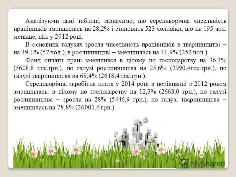 Аналізуючи дані таблиці, зазначимо, що середньорічна чисельність працівників зменшилась на 28,2% і становить 523 чоловіки, що на 195 чол. меньше, ніж у 2012 році. В основних галузях зросла чисельність працівників в тваринництві – на 49,1% (57 чол.),