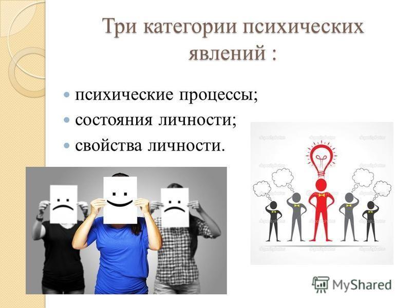 Три категории психических явлений : психические процессы; состояния личности; свойства личности.