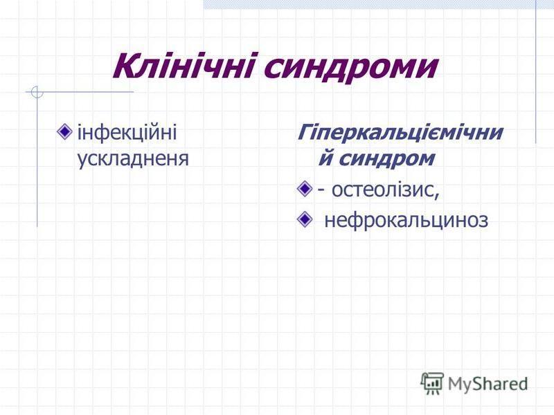 Клінічні синдроми інфекційні ускладненя Гіперкальціємічни й синдром - остеолізис, нефрокальциноз