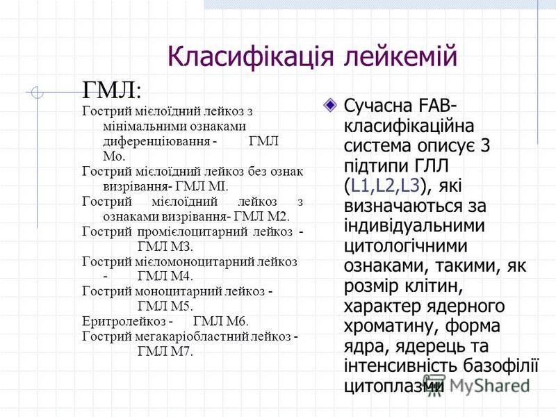 Класифікація лейкемій ГМЛ: Гострий мієлоїдний лейкоз з мінімальними ознаками диференціювання -ГМЛ Мо. Гострий мієлоїдний лейкоз без ознак визрівання- ГМЛ МІ. Гострий мієлоїдний лейкоз з ознаками визрівання- ГМЛ М2. Гострий промієлоцитарний лейкоз - Г
