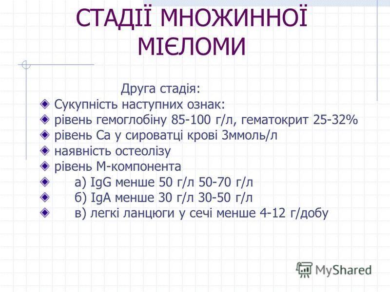 СТАДІЇ МНОЖИННОЇ МІЄЛОМИ Друга стадія: Сукупність наступних ознак: рівень гемоглобіну 85-100 г/л, гематокрит 25-32% рівень Са у сироватці крові 3ммоль/л наявність остеолізу рівень М-компонента а) IgG менше 50 г/л 50-70 г/л б) IgA менше 30 г/л 30-50 г