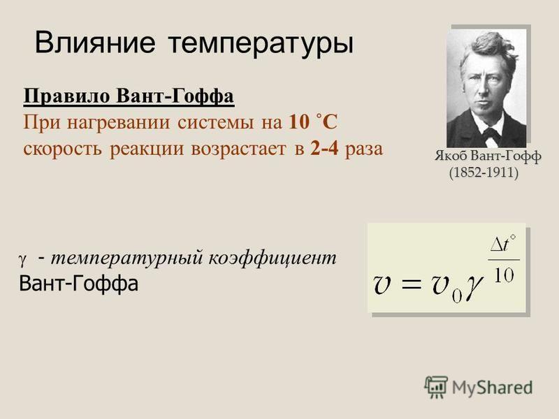 Влияние температуры Правило Вант-Гоффа При нагревании системы на 10 ˚С скорость реакции возрастает в 2-4 раза - температурный коэффициент Вант-Гоффа Якоб Вант-Гофф (1852-1911) (1852-1911)