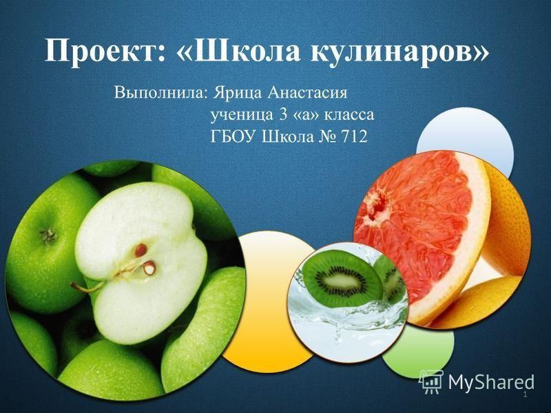 Выполнила: Ярица Анастасия ученица 3 «а» класса ГБОУ Школа 712 Проект: «Школа кулинаров» 1
