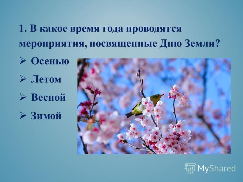 . 1. В какое время года проводятся мероприятия, посвященные Дню Земли? Осенью Летом Весной Зимой