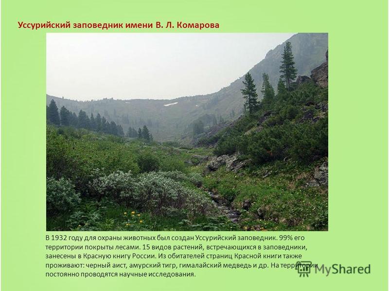 Уссурийский заповедник имени В. Л. Комарова В 1932 году для охраны животных был создан Уссурийский заповедник. 99% его территории покрыты лесами. 15 видов растений, встречающихся в заповедники, занесены в Красную книгу России. Из обитателей страниц К