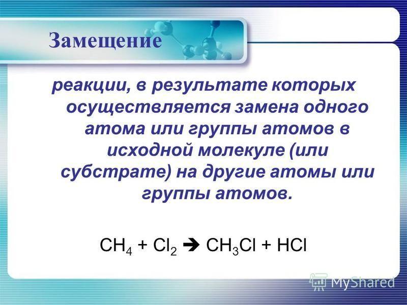 Замещение реакции, в результате которых осуществляется замена одного атома или группы атомов в исходной молекуле (или субстрате) на другие атомы или группы атомов. СН 4 + Сl 2 СН 3 Сl + НСl