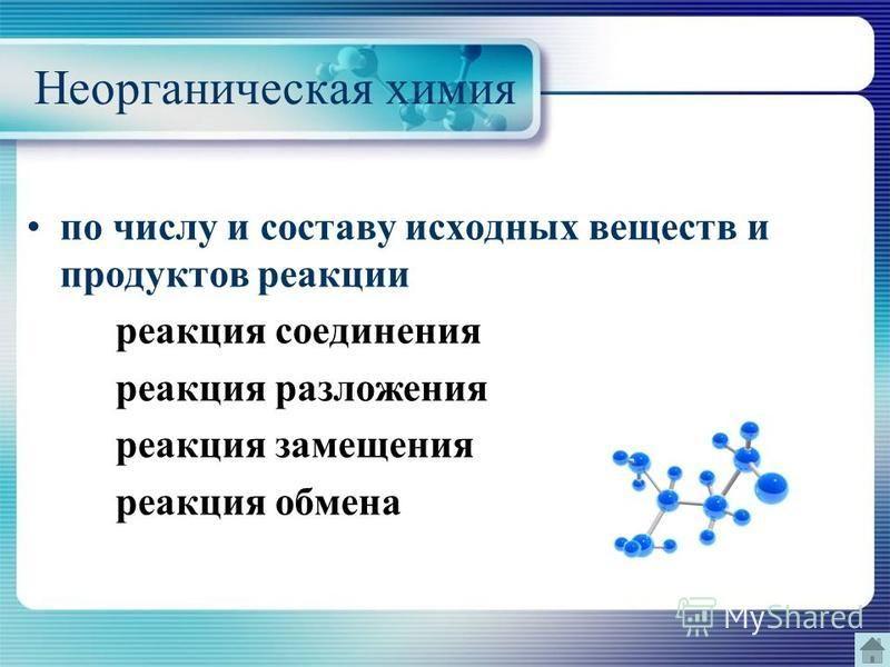 Неорганическая химия по числу и составу исходных веществ и продуктов реакции реакция соединения реакция разложения реакция замещения реакция обмена