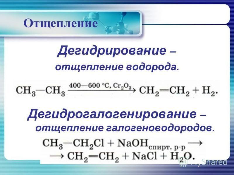 Отщепление Дегидрирование – отщепление водорода. Дегидрагалогенирование – отщепление галогеноводородов.