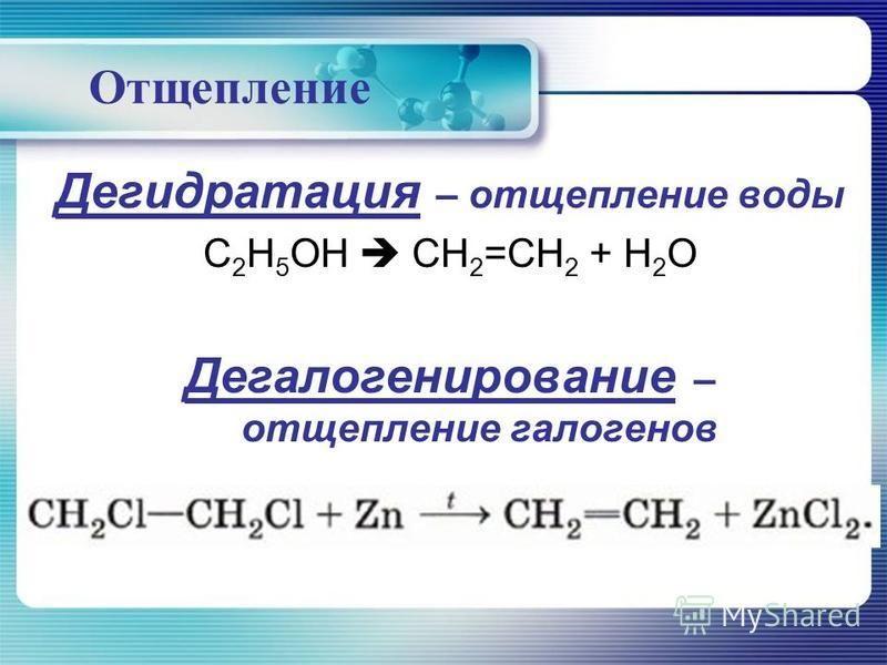 Отщепление Дегидратация – отщепление воды C 2 H 5 OH CH 2 =CH 2 + H 2 O Дегалогенирование – отщепление галогенов
