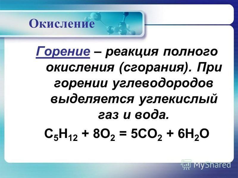 Окисление Горение – реакция полного окисления (сгорания). При горении углеводородов выделяется углекислый газ и вода. C 5 H 12 + 8O 2 = 5CO 2 + 6H 2 O