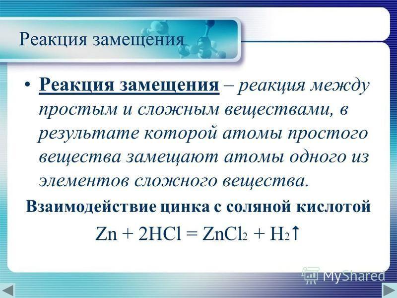 Реакция замещения Реакция замещения – реакция между простым и сложным веществами, в результате которой атомы простого вещества замещают атомы одного из элементов сложного вещества. Взаимодействие цинка с соляной кислотой Zn + 2HCl = ZnCl 2 + H 2