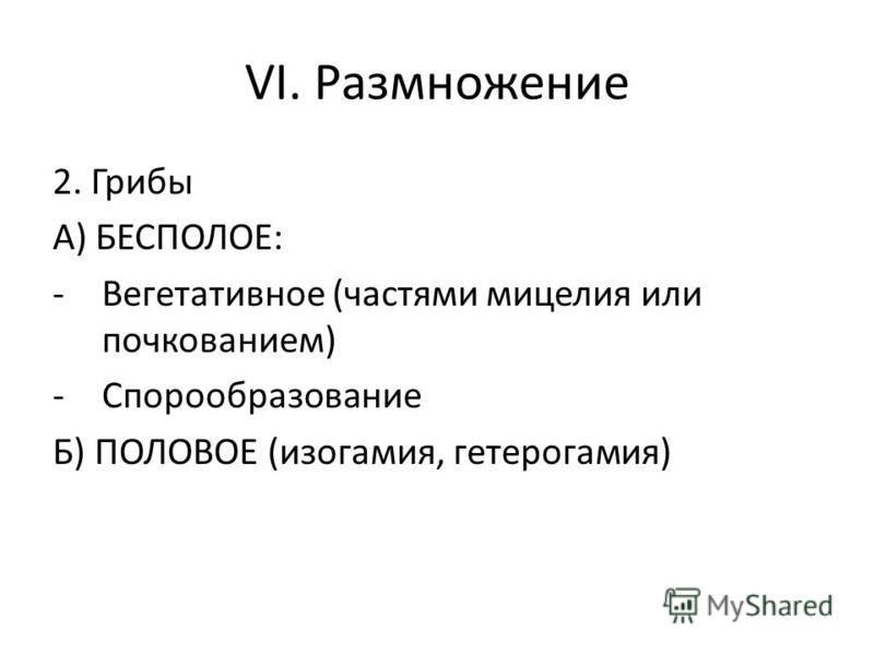 VI. Размножение 2. Грибы А) БЕСПОЛОЕ: -Вегетативное (частями мицелия или почкованием) -Спорообразование Б) ПОЛОВОЕ (изогамия, гетерогамия)