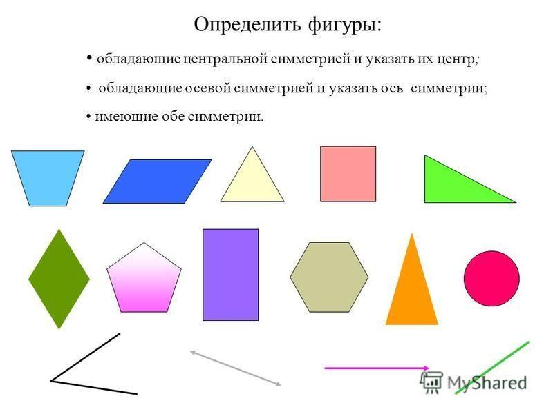 Определить фигуры: обладающие центральной симметрией и указать их центр; обладающие осевой симметрией и указать ось симметрии; имеющие обе симметрии.