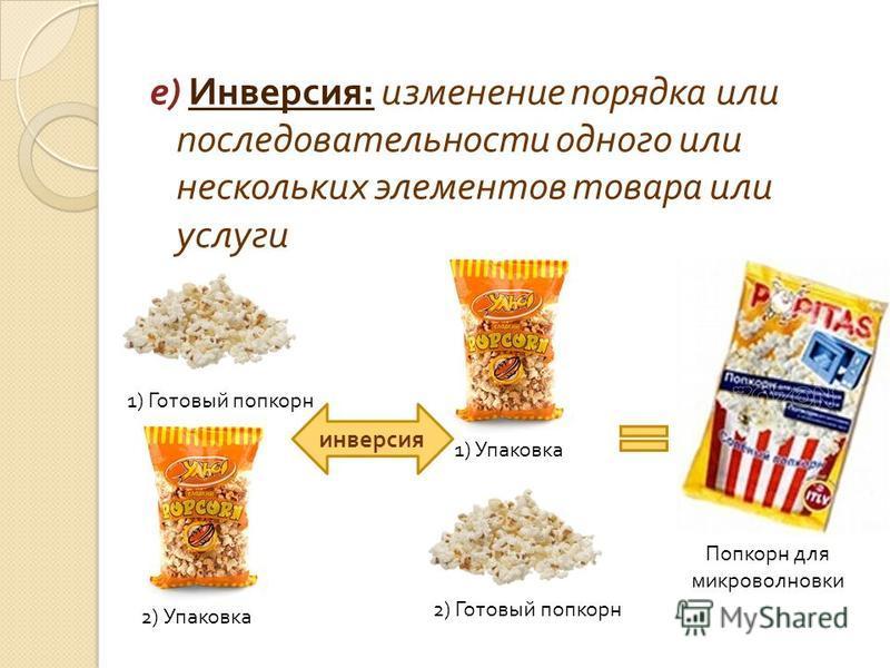 е ) Инверсия : изменение порядка или последовательности одного или нескольких элементов товара или услуги 1) Готовый попкорн 2) Упаковка 2) Готовый попкорн 1) Упаковка инверсия Попкорн для микроволновки