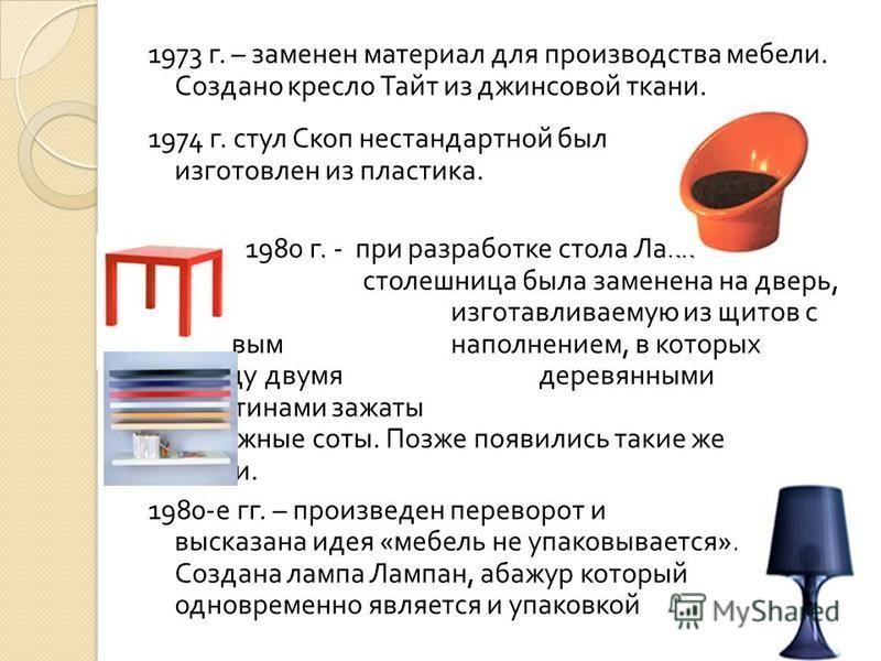 1973 г. – заменен материал для производства мебели. Создано кресло Тайт из джинсовой ткани. 1974 г. стул Скоп нестандартной был изготовлен из пластика. 1980 г. - при разработке стола Лакк столешница была заменена на дверь, изготавливаемую из щитов с