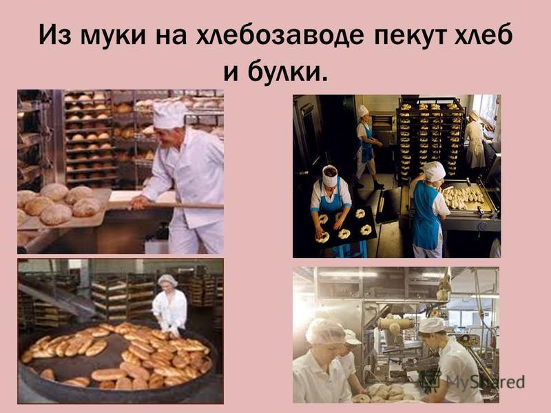 Из муки на хлебозаводе пекут хлеб и булки.